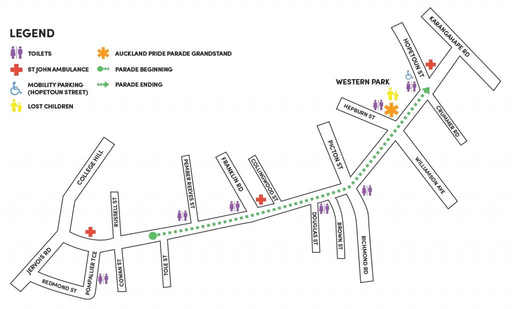 Auckland Pride Parade Map